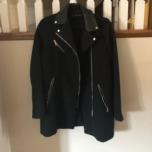 Black Zara coat with vegan leather collar